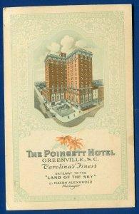 The Poinsett Hotel Greenville South Carolina sc Land of the Sky postcard