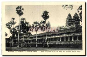 Old Postcard Cambodia Ruins of Angkor Vath West Wing of the North façade