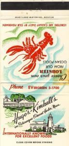 Cohasset Harbor, Mass/MA Matchcover, Hugo Kimball's,Cape Cod