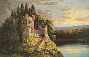 Fantasy landscape with castle Nice German postcard 1930s