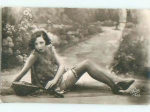 foreign 1920's Risque SEXY ITALIAN WOMAN & ANTIQUE GUITAR IN PISA ITALY AB7223