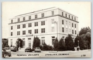 Sterling Colorado~Federal Building~Post Office~Cars~1955 B&W Glossy Postcard