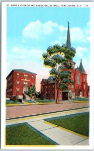 Port Jervis, New York Postcard St. Mary's Church & Parochial School c1930s