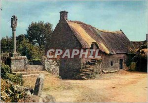 Old Postcard Petite Chaumiere Brittany Interieure (Near Vannes) Brittany in C...