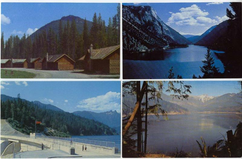 British Columbia - 4 View Cards Lakes & Parks 40 yrs old