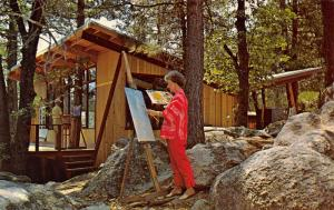 Idyllwild~So California School of Arts~Artist on Porch Paints Reflection 1968
