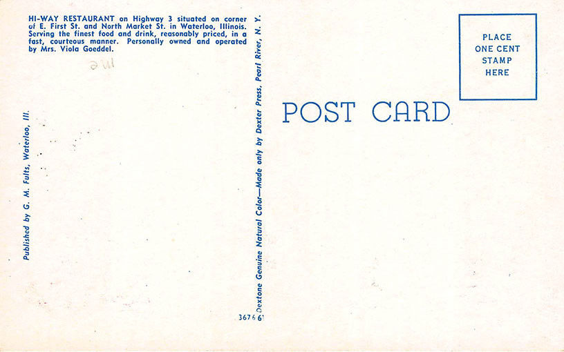 Vintage postcard HI WAY RESTAURANT Waterloo Illinois nice Coca Cola sign picture