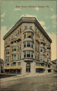 Bangor PA Real Estate Bldg - Nice Architecture c1910 Postcard