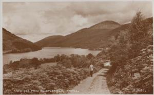 Man Walks at Loch Eck Argyll Near Whistlefield Real Photo MINT Scottish Postcard