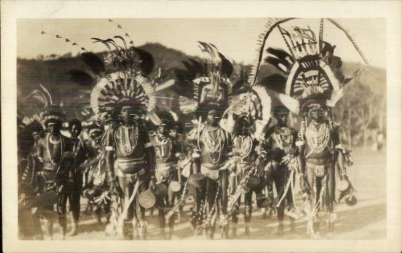 Australia or New Zealand Aboriginals Natives Costumes Real Photo Postcard