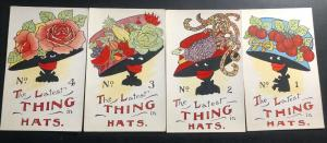 4 Mint USA Black American Picture Postcard Latest Thing In Hats Series Collectio