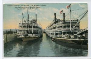 Steamers Through New Lock Mississippi River Keokuk Iowa 1910c postcard