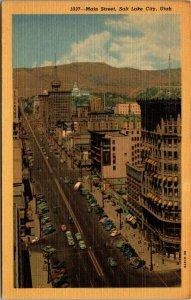 Main St Downtown Salt Lake City, UT UTAH Curteich Linen unposted POSTCARD
