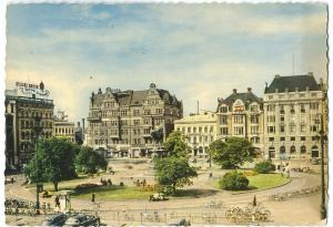 Sweden, Malmo, Stortorget med Karl X Gustav-statyn, 1950s unused Postcard