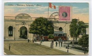 Correos Telegrafo Post Office Telegraph Callao Peru 1919 postcard