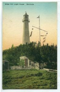 Gibbs Hill Lighthouse Bermuda UK handcolored postcard