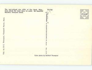 Unused Pre-1980 GAY HEAD BEACH Martha'S Vineyard Massachusetts MA M6678