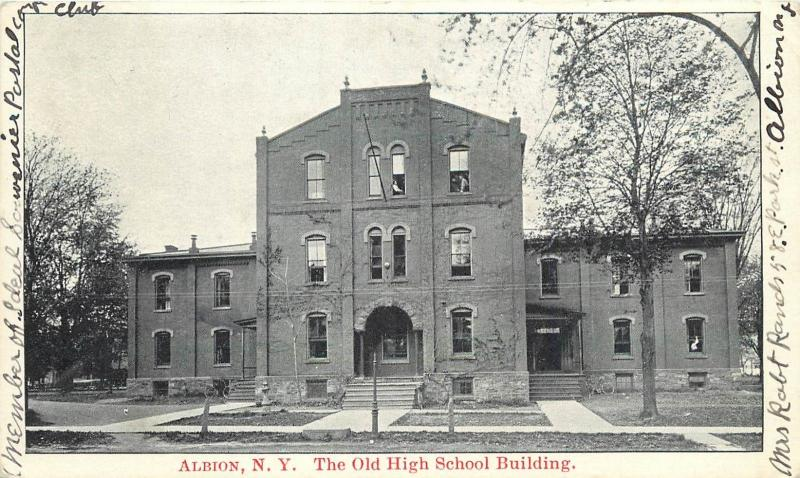 c1906 Postcard; Albion NY, Old High School Building, Orleans County posted