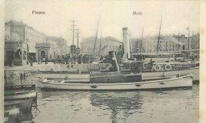 Postcard Croatia Fiume Molo steamboat