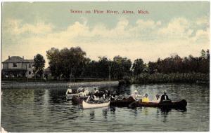 c1910 ALMA Michigan Mich Postcard PINE RIVER Boating Boats Home