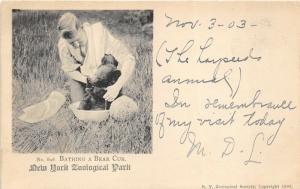 New York Zoological Park 1903 Postcard ZOO Bathing A Bear Cub