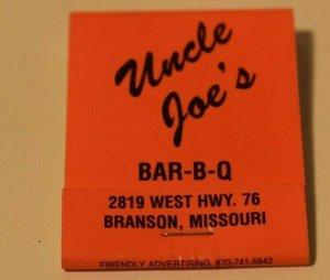 Uncle Joe's Bar-B-Q Branson Missouri 20 Strike Matchbook