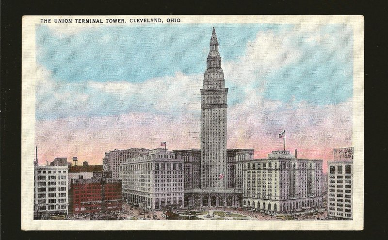 USA Postmark 1935 Cleveland Ohio Union Terminal Tower Cleveland Linen Postcard