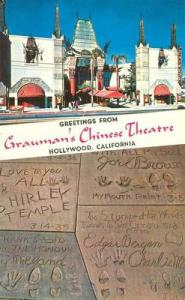 Greetings from Grauman's Chinese Theatre unused Postcard