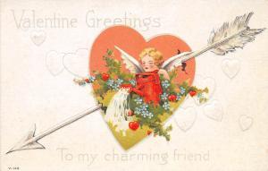 B51/ Valentine's Day Love Holiday Postcard c1910 SET OF 3 Arrow Heart Cupid 18