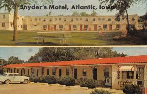 Atlantic Iowa~Snyder's Motel~Roadside US 6~Front & Back~Telephone Booth~1950 Car