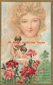 6 Fantasy Postcards, Kaplan No 57, Woman's Head in Clouds, Cupid with Flowers
