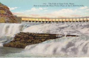 Falls at Great Falls, Montana - Power Plant of C. M. & St. Paul Railway - DB