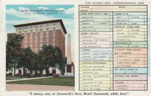 SAVANNAH, Georgia, 1933; Hotel Savannah, Easy Correspondence Card
