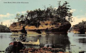 The Dells Wisconsin~Lone Rock~Man Fishing From Canoe c1910 Postcard