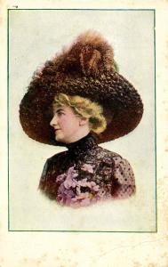 Fashion - Lady With Brown Hat & Plume, Purple Flowers