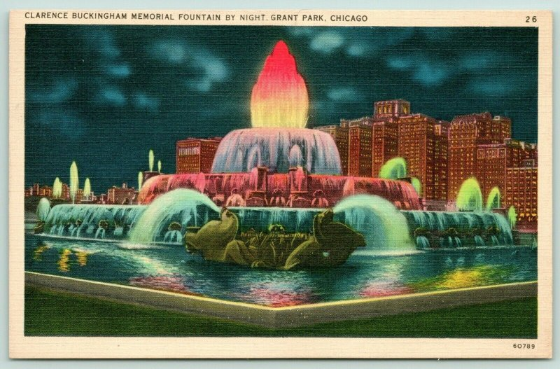 Chicago Illinois~Grant Park~Clarence Buckingham Fountain @ Night~1940s Linen