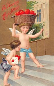 A Happy Christmas, Hearts Basket, Children Angels, Cherubs, Cupids, love letter
