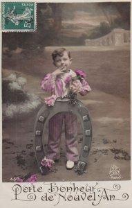 RP: NEW YEAR, 1900-10s; Porte bonheur de Nouvel An, Little boy with bouquet...