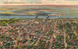 Ft Smith Arkansas~Business District~Aerial View~1940s Linen Postcard