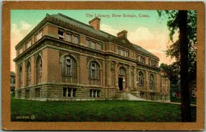 1909 New Britain, Connecticut Postcard The Library Building View E.P. Charlton