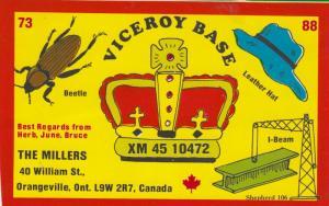 ORANGEVILLE , Ontario , 50-60s ; Viceroy Base , QSL Radio Postcard