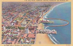 California Long Beach Aerial View Showing Auditorium and Rainbow Pier Curteich