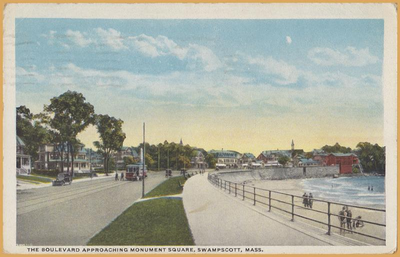 Swampscott, Mass., The Boulevard approaching Monument Square, Trolley, cars-1931