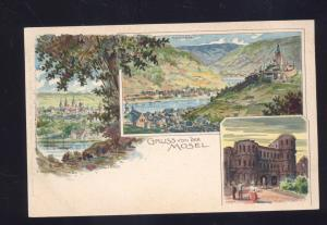1902 GRUSS VON DER MOSEL GERMANY ANTIQUE VINTAGE POSTCARD GERMAN