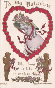 Valentine's Day Woman In Chain Of Hearts 1909