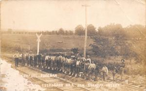 Real Photo Postcard~Railroad Crossing~Extra Gang No 6~Men With Shovels~1912 RPPC