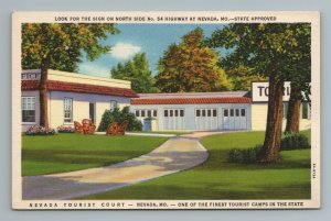 Nevada Tourist Court Camp MO Missouri Postcard