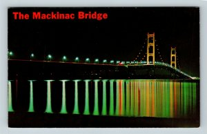 Mackinaw City MI, Mackinac Bridge Lights At Night Chrome Michigan c1967 Postcard
