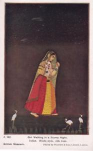 Girl Walking on A Starry Night Hindu Indian Painting Old Postcard
