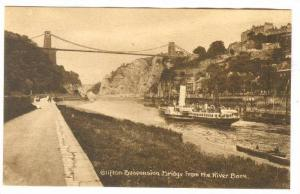 RP;Clifton Suspension Bridge from the River Bank, Somerset, England, United K...
